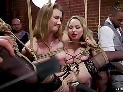 Slaves at interracial assfuck bdsm party