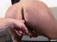 Hairy daddy casting with cumshot